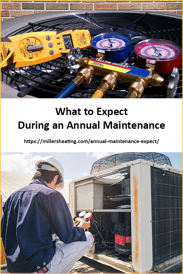 You have scheduled one of our professionally trained service technicians to come out and complete a HVAC annual maintenance on your heating and cooling system. What should you expect on the day? #HVAC #maintenance @millersheatingair